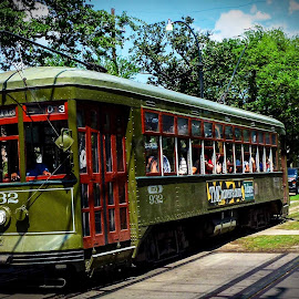 New Orleans Street Car by Dave Walters - City,  Street & Park  Street Scenes ( new orleans, trolly, lumix fz200, street car, city life, street scene,  )