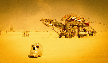 Photo: People spend all year building elaborate land-vehicles that cruise around the playa day and night. This one is particularly awesome, with a fully articulated head that can breathe fire at night (pics of that coming soon!). - from Trey Ratcliff at www.stuckincustoms.com