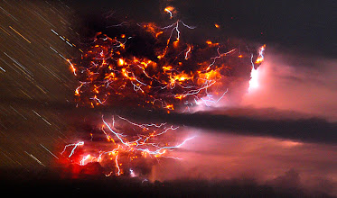 Photo: Volcanic Lightning Photograph by Francisco Negroni. In a scene no human could have witnessed, an apocalyptic agglommeration of lightning bolts illuminates an ash cloud above Chile's Puyehue volcano in June 2011. The minutes-long exposure shows individual bolts as if they'd all occurred at the same moment and, due to the Earth's rotation, renders stars (left) as streaks. Lightning to the right of the ash cloud appears to have illuminated nearby clouds—hence the apparent absence of stars on that side of the picture. After an ominous series of earthquakes on the previous day, the volcano erupted that afternoon, convincing authorities to evacuate some 3,500 area residents. Eruptions over the course of the weekend resulted in heavy ashfalls, including in Argentine towns 60 miles (a hundred kilometers) away.  #cloud #storm #supercell #nature #thunderstorm #hailstone #lightning #photo #photography  #photo #photography #News #WeatherNews #Bolt #ChesterCounty #ExtremeWeather #farm #Funnel #JeffBerkes #lightpollution #Lightning #Pennsylvania #rain #severe #Shaft #Storms #Thunderstorm  #funnel #lightningphotography   #stormphotography #weatherphotos   #stormphotography