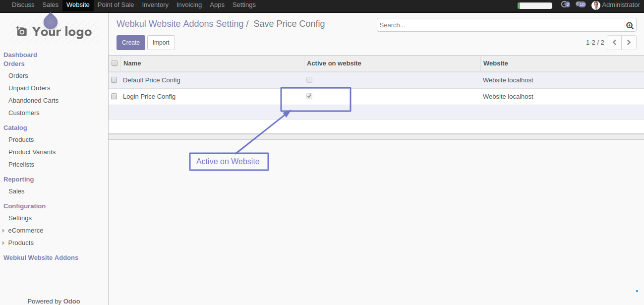 Activate the configuration which you want to show on the website