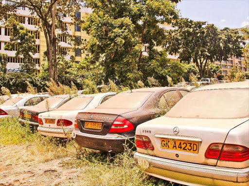 Vehicles rusting away at the judiciary parking lot at Milimani law courts in Nairobi.