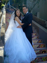 Photo: Easter Sunday, 2014: First pre-wedding photos we've captured on the Hidden Garden Steps (16th Avenue, between Kirkham and Lawton streets in San Francisco's Inner Sunset District); the wedding is planned for Sept. 2014.   For more information about the gardens and the 148-step ceramic-tile mosaic completed by project artists Aileen Barr and Colette Crutcher, please visit our website (http://hiddengardensteps.org), view links about the project from our Scoopit! site (http://www.scoop.it/t/hidden-garden-steps), or follow our social media presence on Twitter (https://twitter.com/GardenSteps), Facebook (https://www.facebook.com/pages/Hidden-Garden-Steps/288064457924739) and many others.