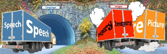 two lorries crashing together as they enter a tunnel marked 'Images'. One lorry is marked 'Imagery' and the other marked 'Picture'