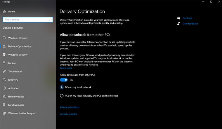 tela para desativar a otimização de entrega do Windows, um dos métodos para resolver o erro servidor dns não está respondendo