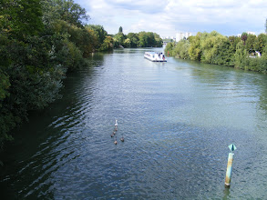 Photo: On the other side of the island, the main flow of the Marne is shared by swan families and touring boats.