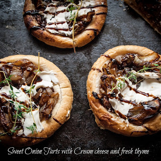 Sweet Onion Tarts With Cream Cheeze And Thyme
