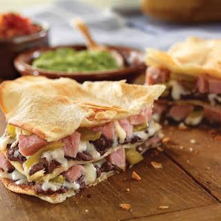 Layered Ham and Cheese Quesadillas.