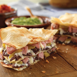 Layered Ham and Cheese Quesadillas.