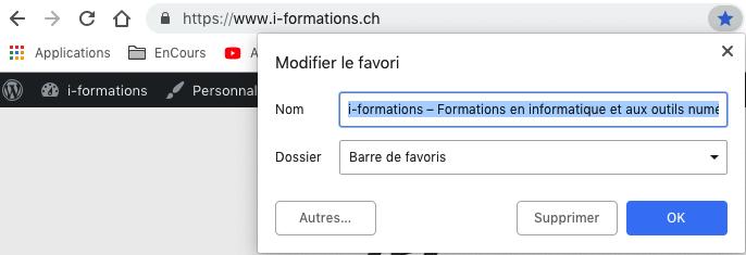 Ajouter Favoris sous Google Chrome