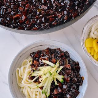 Korean Black Bean Noodles (Jajangmyeon).