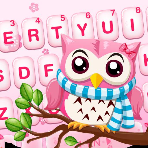 Pink Cute Owl Keyboard Theme Icon