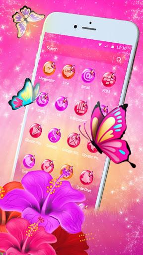 pink butterfly flower theme screenshot 2