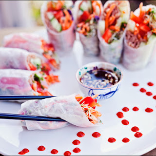 Healthy Fresh Rice Paper Rolls with Sweet Garlic Hot Pepper Sauce.