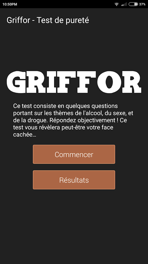 Griffor - Purity test- screenshot