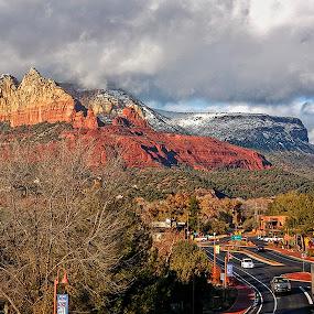 Sedona in Winter by Al Judge - Landscapes Mountains & Hills ( hillside, traffic, winter, arizona, snow, sedona )