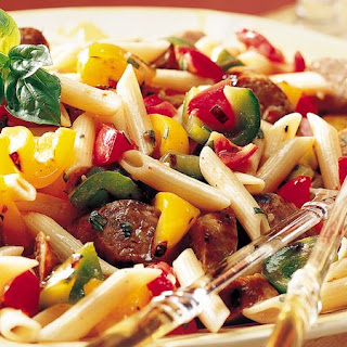 Grilled Italian Sausages with Pasta and Vegetables.