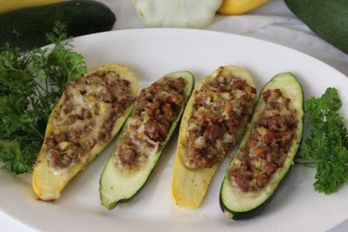 "Stuffed Summer Squash ""I've made this in one very large zucchini cut..."