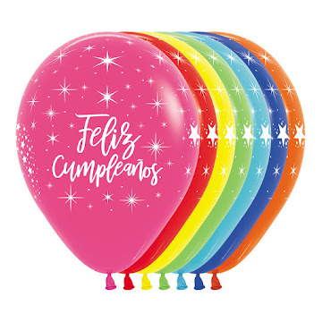 Bombas Feliz Cumpleaños   Sempertex Colores Surtidos Paquete x 12Uni