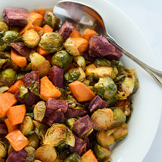 Maple Roasted Brussels Sprouts and Sweet Potatoes Recipe
