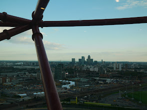Photo: Canary Wharf (centre) and the O2/North Greenwich Arena (white dome to left)