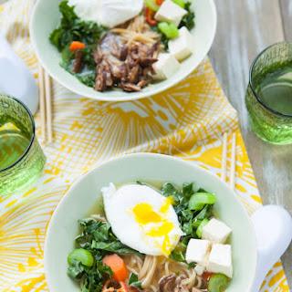 Tofu, Kale & Shiitake Mushroom Ramen Noodle Soup.