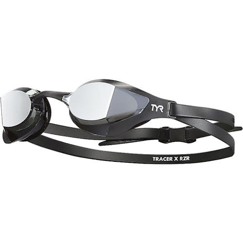 TYR Tracer X RZR Mirrored Adult Swim Goggles - Black/Black, Silver Mirror Lens