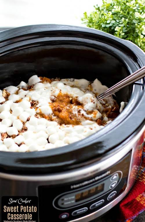 "Slow Cooker Sweet Potato Casserole ""On busy oven days this mouthwatering Slow..."