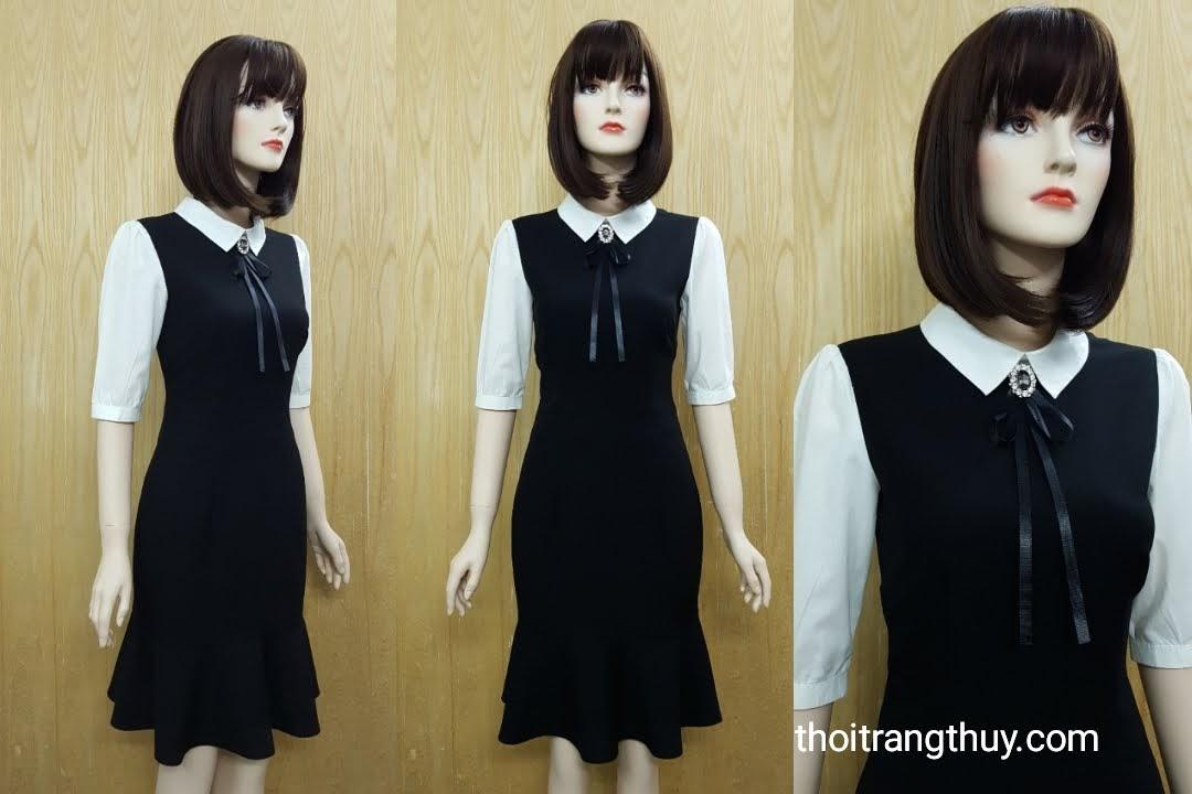 Váy công sở phố trắng đen cổ peter pan V516 Thời Trang Thủy