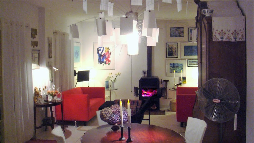 The living room on a winter's night. Unusually comfortable for a Madeira home,