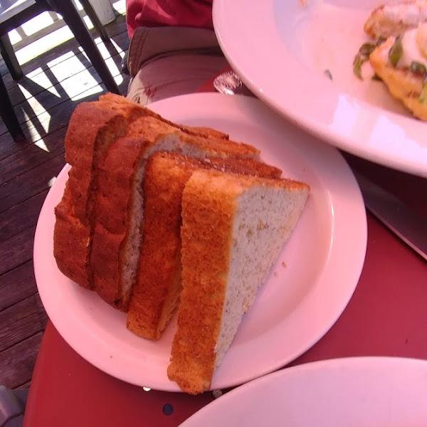 Toast beside Bean Fritter
