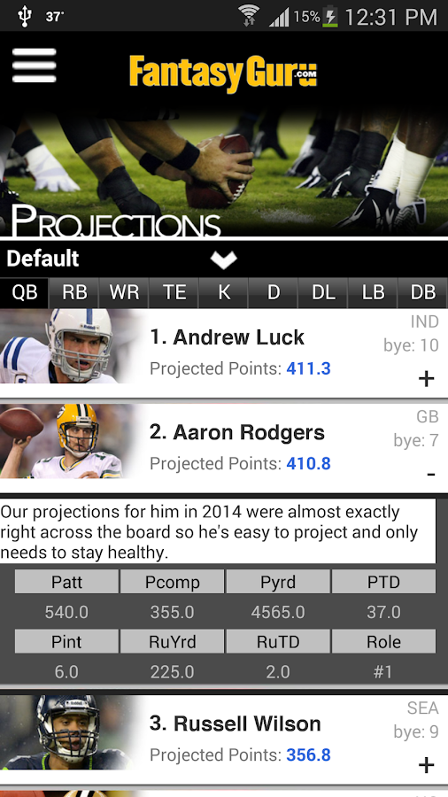 FantasyGuru.com's MyGuru- screenshot