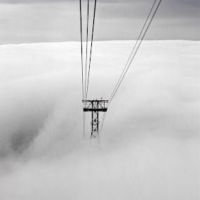 Cablecar by Selim Vardım - Landscapes Cloud Formations ( clouds, black and white, cable car, high )