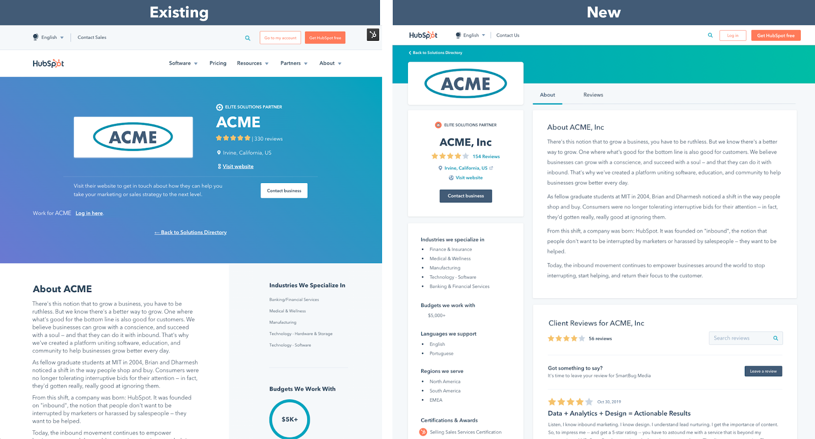 Side by side comparison of the newly designed profile pages.