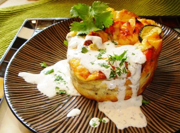 Roasted Veggie Souffle with Creamy Cilantro Lime Sauce