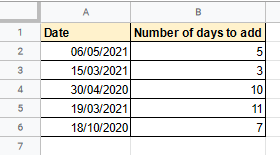 adding days to date google sheets