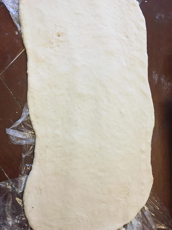 "Roll each dough on floured surface in to  a rectangle about 6""x18"" long."