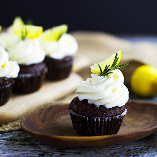 Low-Carb Chocolate Rosemary Cupcakes with Lemon Frosting.