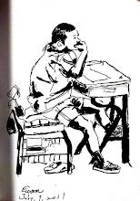 Photo: 專注2011.07.01鋼筆 只要心被觸動,強制輔導的個案會比一般人更投入重,這位少輔院的孩子正說明了一些。