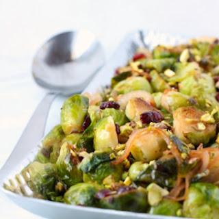Brussels Sprouts with Caramelized Onions, Cranberries and Pistachios.