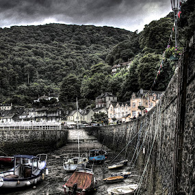 Lynmouth Harbour by Luke Aylen - City,  Street & Park  Vistas ( stormy, hdr, harbour, boats, devon, hdr., sea, overcast, storm, yachts )