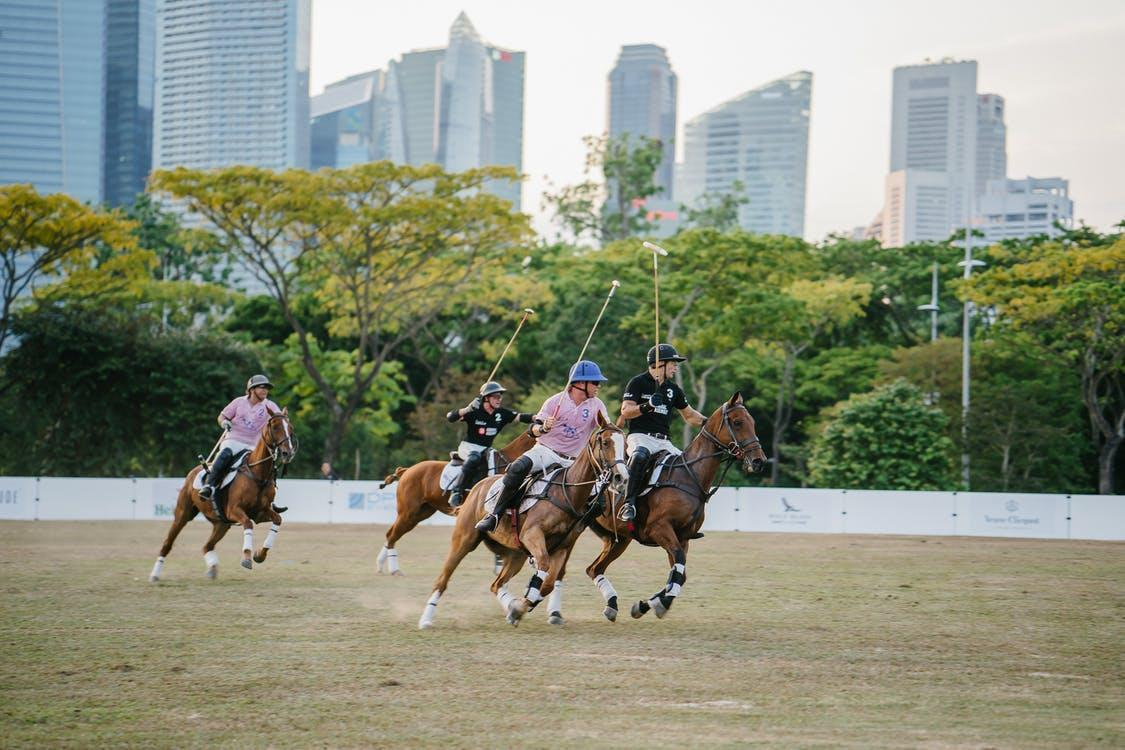 Group of Men Riding Horses About to Play Polo Sport