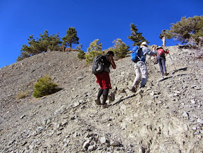 Photo: Members of OC Hiking Club scale the steep rocky section of North Backbone Trail