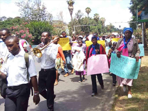 Kenyans take part in the Intersex community demonstration advocating the rights of intersex children