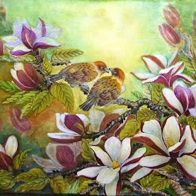 Birds in Magnolia Tree by Myong Dutton - Uncategorized All Uncategorized