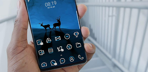 SkyLine LineX IconPack in Blue and White Colors. Lineal style Icons