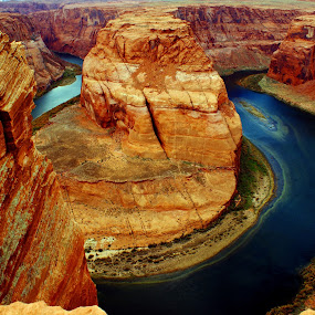 Bending River by Brian Kerls - Landscapes Mountains & Hills ( mountain, colorful, sandstone, travel, breathtaking, page arizona, landscape, usa, geology, mesa, nature, iconic, arizona, southwest, red rock, rock formation, travel destinations, water, blue;, cliff, canyon, tourism, beauty in nature, colorado river, outdoors, western, horseshoe bend, natural, river )