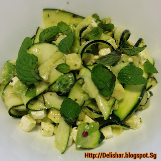 Fresh Zucchini Salad with Avocado, Feta, and Mint.