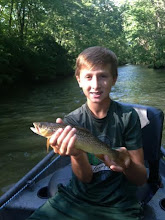 """Photo: Young Jackson Byrne caught his 1st trout ever on a fly rod on Tuesday. His grandpa """"Buck"""" hired us to float them down the Mad and guide Josh McQueen got the job done."""