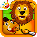 Savanna - Puzzles and Coloring Games for Kids icon
