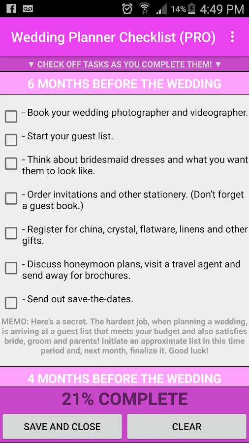 wedding check off list